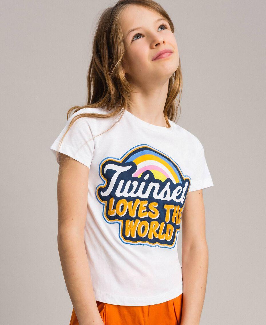 T-Shirt aus Baumwolle mit mehrfarbigem Aufdruck Weiß Kind 191GJ2320-0S