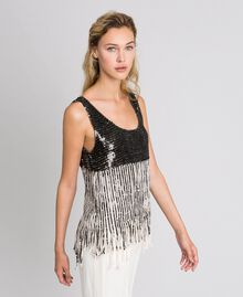 Georgette top with sequins and fringes Dark Gold Sequin Embroidery Woman 192TT2480-02