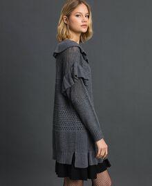 Robe ajourée en laine et cachemire Gris Mélangé Femme 192TP3200-02