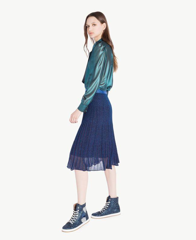TWINSET Sneaker mit Glitter Dunkelblau Frau CS8PM7-05