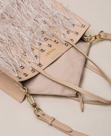 Faux leather shopper with rhinestones and feathers Beige Cremino Woman 201TA7190-05