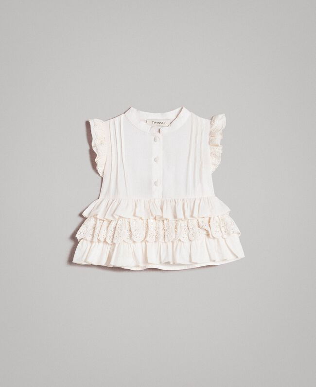 Cotton top with broderie anglaise flounces Pale Cream Child 191GB2571-01