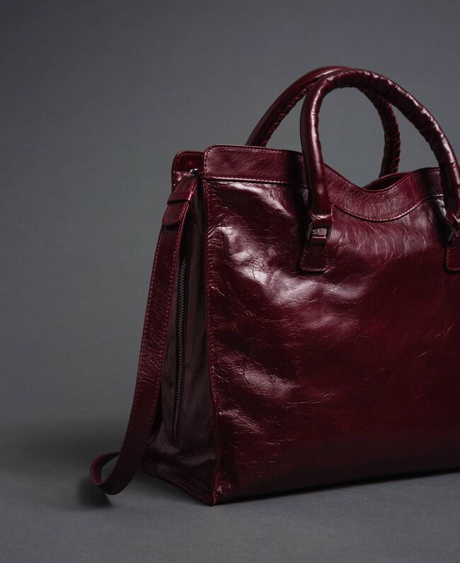 Sac cabas en cuir effet craquelé Rouge Betterave Femme 192TA7235-04