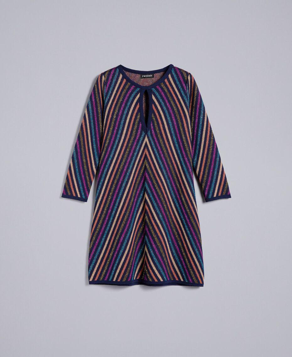 Multi-coloured jacquard lurex dress with stripes Blue Lurex Stripe Jacquard Woman TA838D-0S