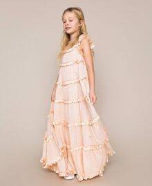 Full-length muslin and satin gown Bud Pink Child 201GJ2Q40-01