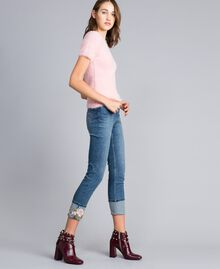 Embroidered skinny jeans with cuffs Denim Blue Woman JA82V5-02