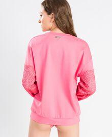 Sweat en viscose avec dentelle Rose Royal Pink Femme IA8CCC-02