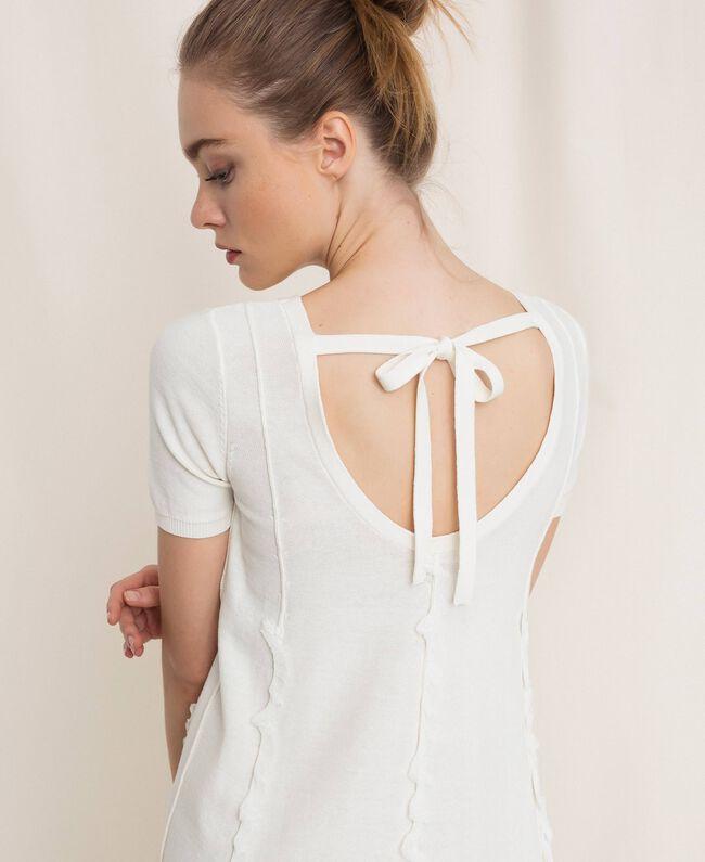 Платье с отстрочками и рюшами Белый женщина 201ST3066-04