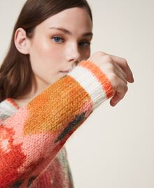 Mohair and wool jumper with sequins Ivory / Coral Dream Large Flower Print Woman 202TT3281-04
