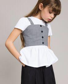 T-shirt en jersey avec top en vichy Bicolore Blanc Optique / Vichy Enfant 191GJ2730-0S