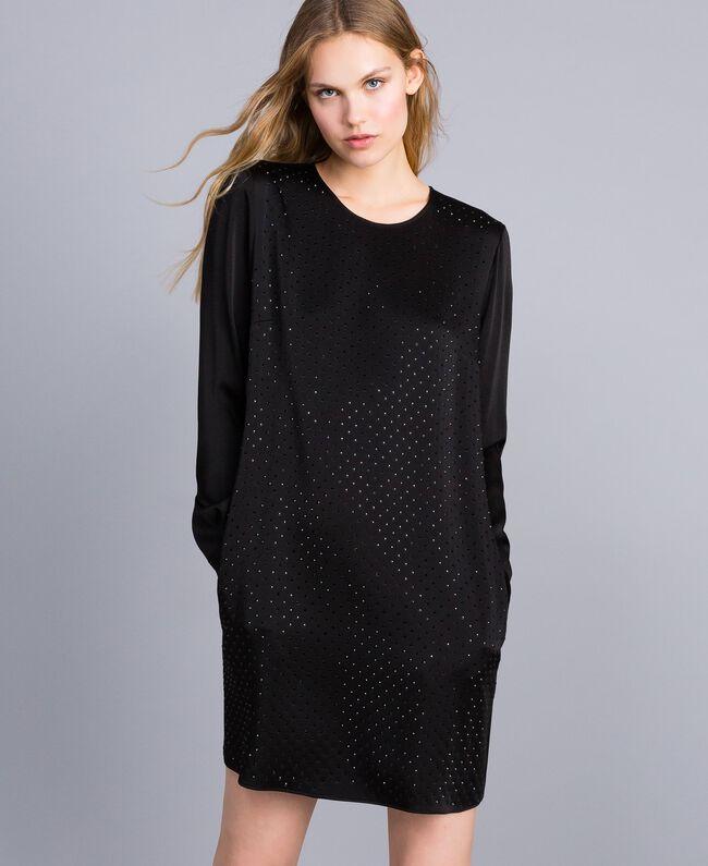 Kleid aus Envers-Satin mit Strass Schwarz Frau TA824N-01