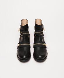 Bottes motardes en cuir avec fermeture éclair Noir Femme 201TCP104-05