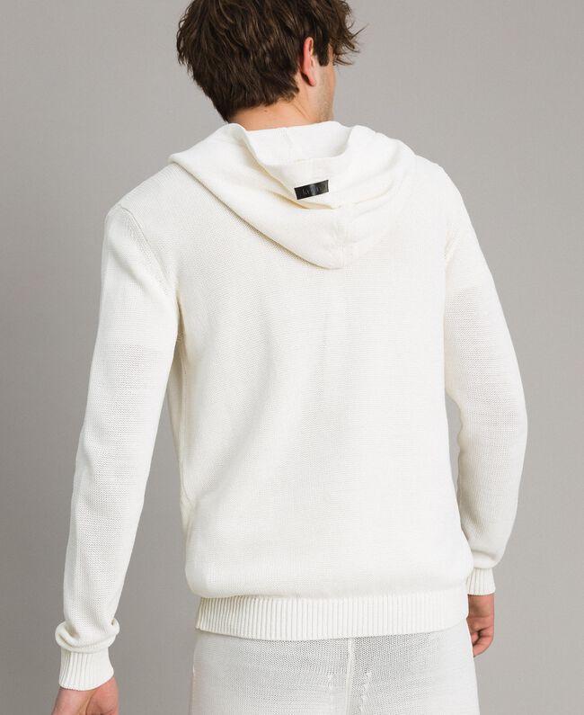 Sweat shirt à capuche en maille de coton mélangé Blanc Opaque Homme 191UT3080-03