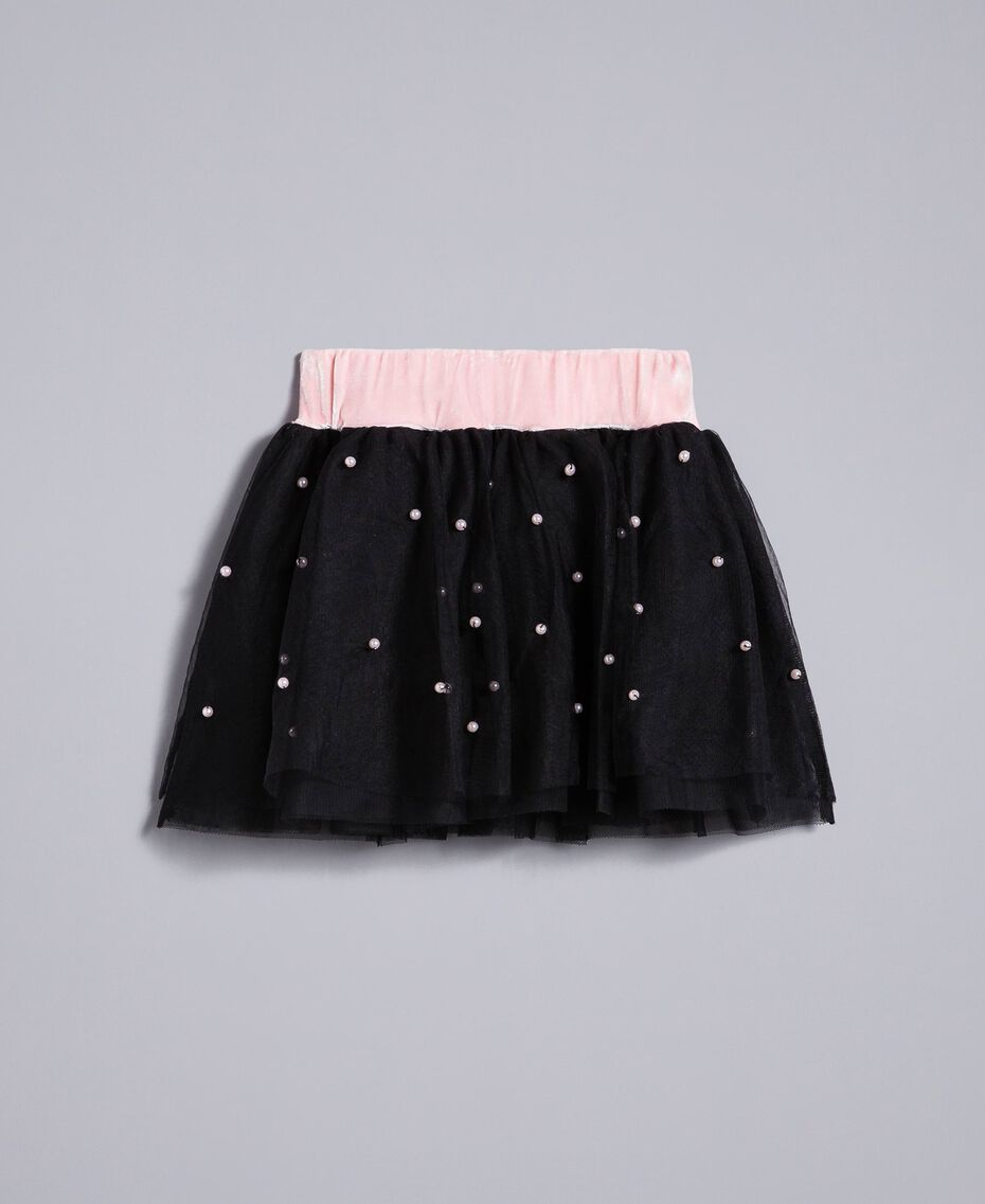 """Tulle skirt with pearls Bicolour """"Blush"""" Pink / Black Child FA82JB-0S"""