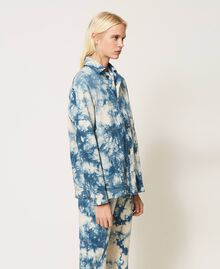 """Tie-dye jacket """"Snow"""" White / Light Blue Tie Dye Woman 211TT2544-05"""