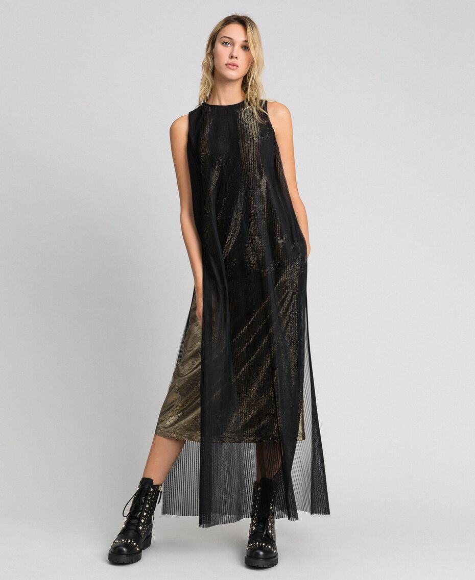 Metal effect long dress with tulle Black Gold Woman 192MT2192-02