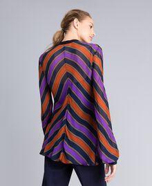 Blouse en crêpe georgette rayé Imprimé Rayure Multicolore Femme TA8292-04