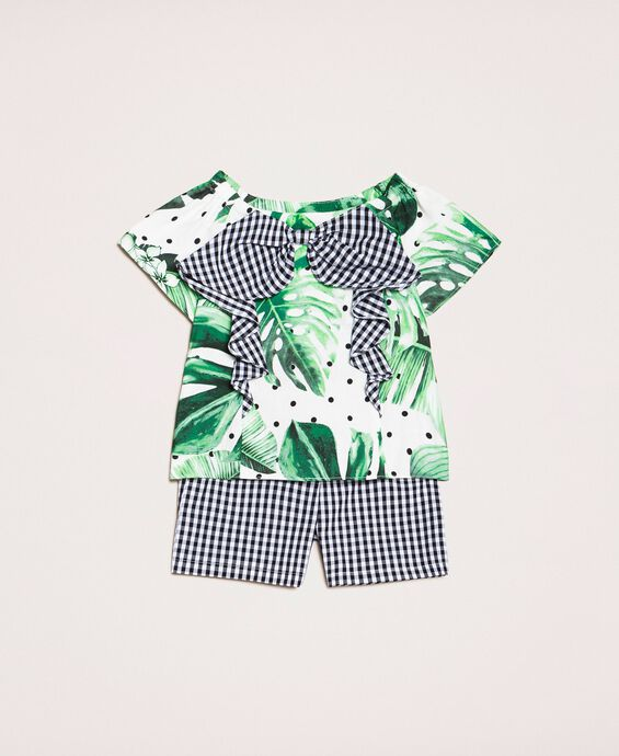 Printed top and gingham shorts