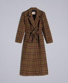 """Cappotto lungo in panno check Bicolor Quadri Beige """"Cookie"""" / Arancione """"Bruciato"""" Donna TA821G-0S"""