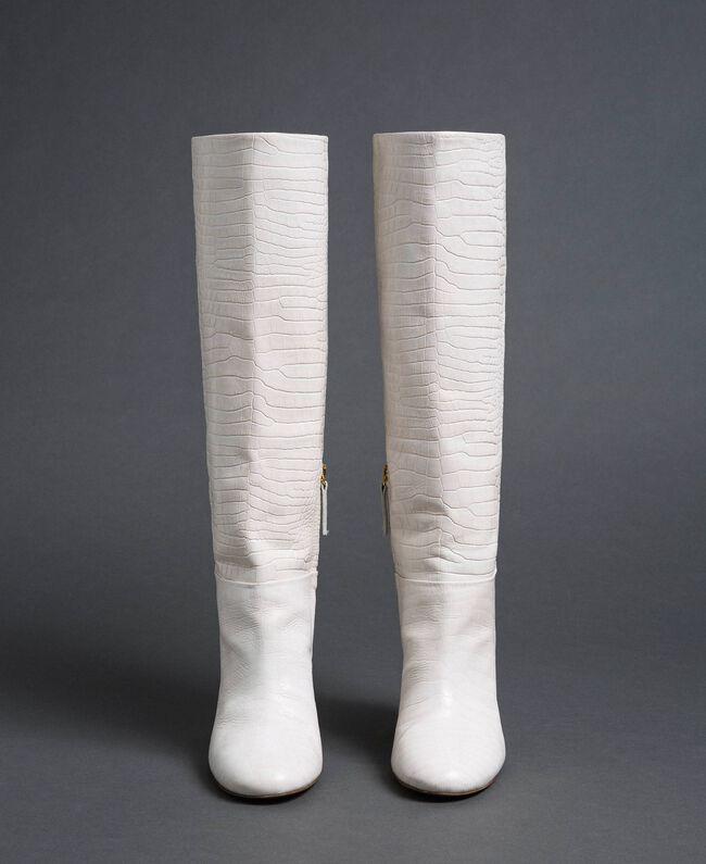 """Stivali in pelle a stampa coccodrillo Stampa Coccodrillo Bianco """"Neve"""" Donna 192TCT036-04"""