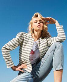 "Striped bouclé jacket ""Ivory Mat"" Grey / Blue Light Stripe Woman 211TT2051-01"