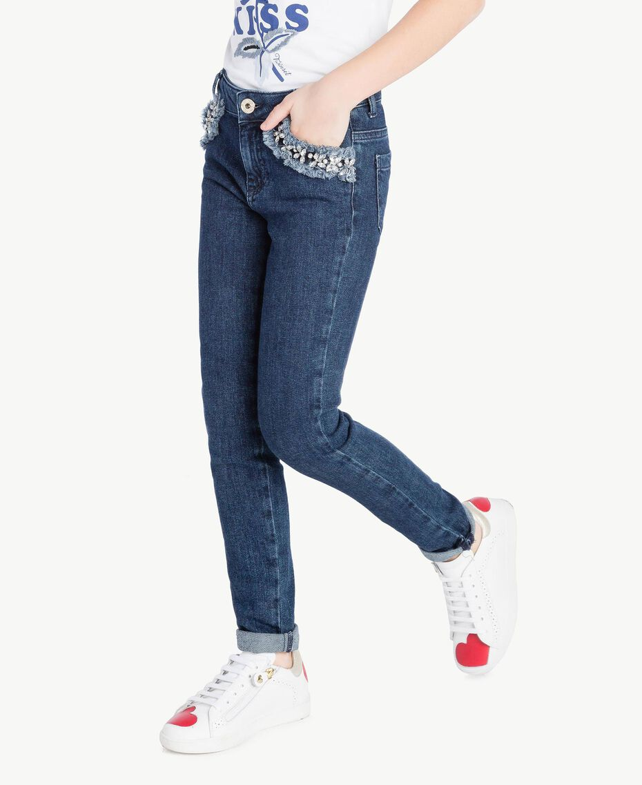 "Embroidered skinny jeans ""Mid Denim"" Blue Child GS82W1-03"