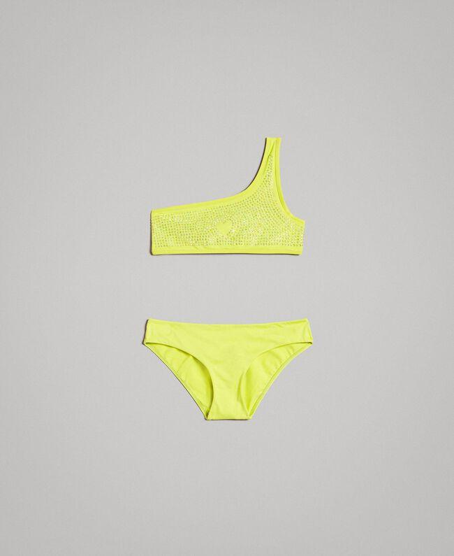 """Bikini épaule dénudée avec strass Jaune """"Bambou"""" Enfant 191GJM905-01"""