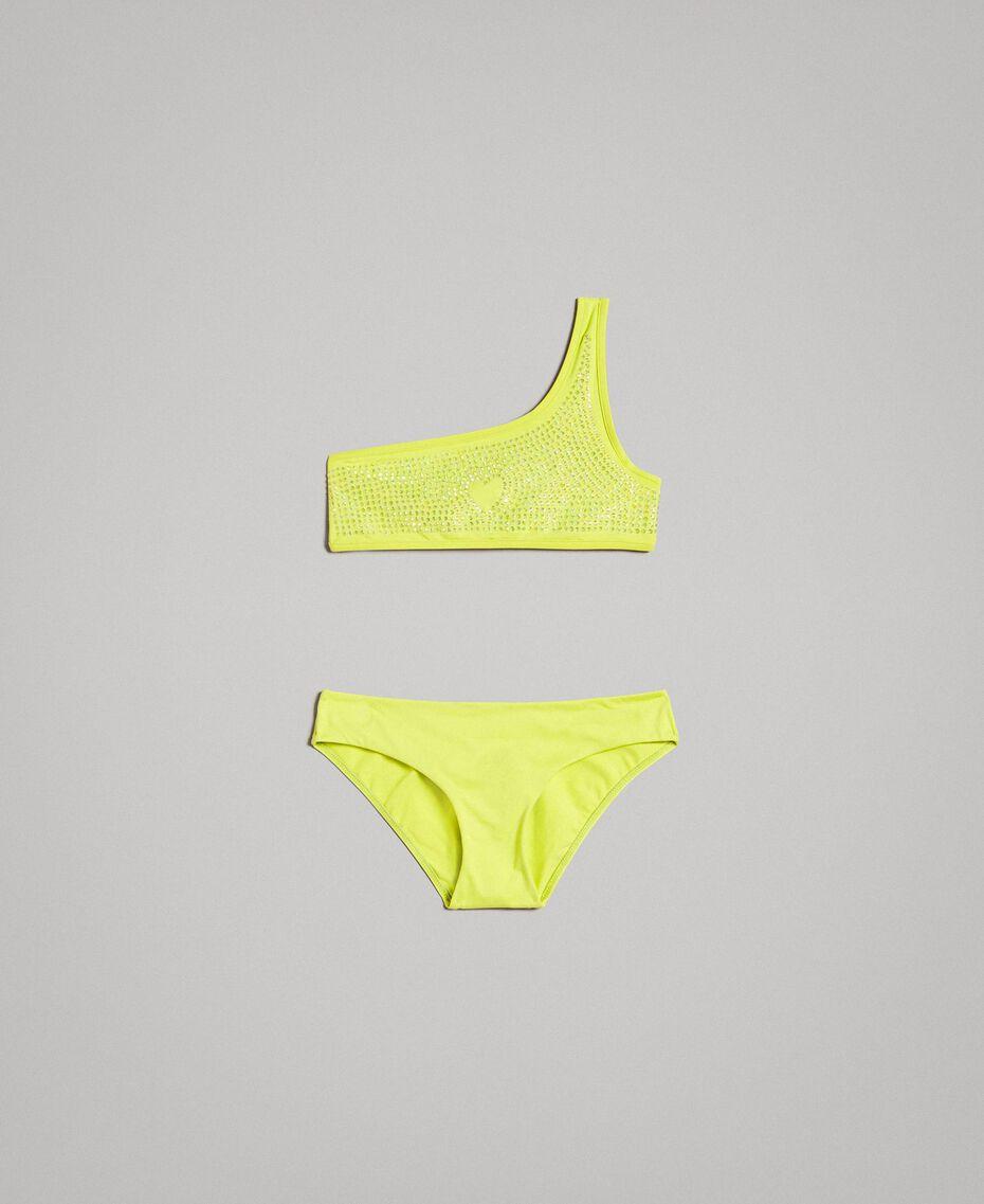 """Bikini de un solo hombro con diamantes de imitación Amarillo """"Bambú"""" Niño 191GJM905-01"""