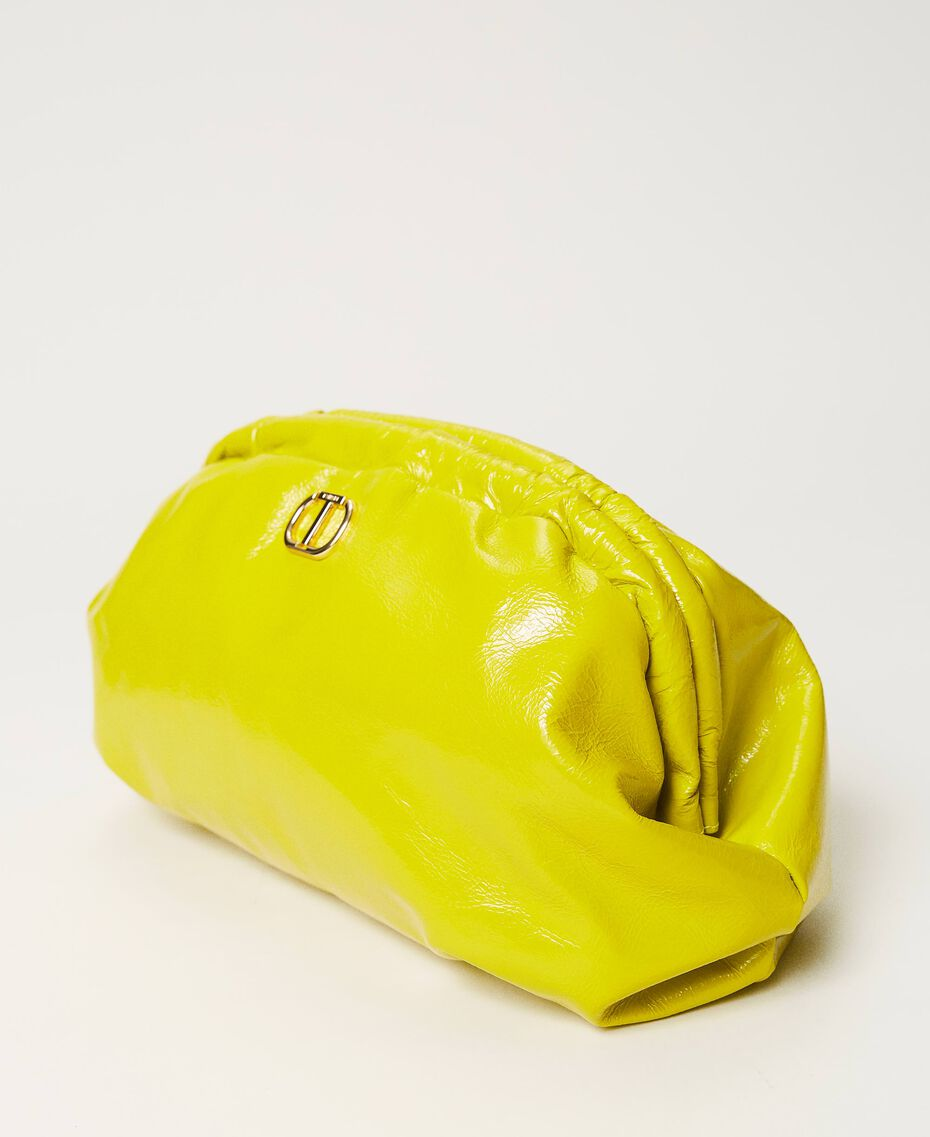 """Shiny leather soft clutch """"Led"""" Yellow Woman 211TD8060-02"""