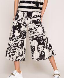 Jupe-culotte en crêpe georgette imprimé Imprimé Liberty Blanc / Noir Femme 201ST213H-04