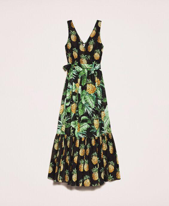 Длинное ярусное платье с принтом