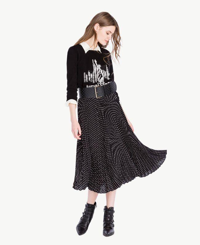 Medium length polka dot skirt Black Polka Dot Print / Ivory Woman PS82L2-05