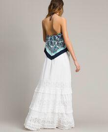 Falda larga con encaje y bordados Hueso Mujer 191MT2272-03