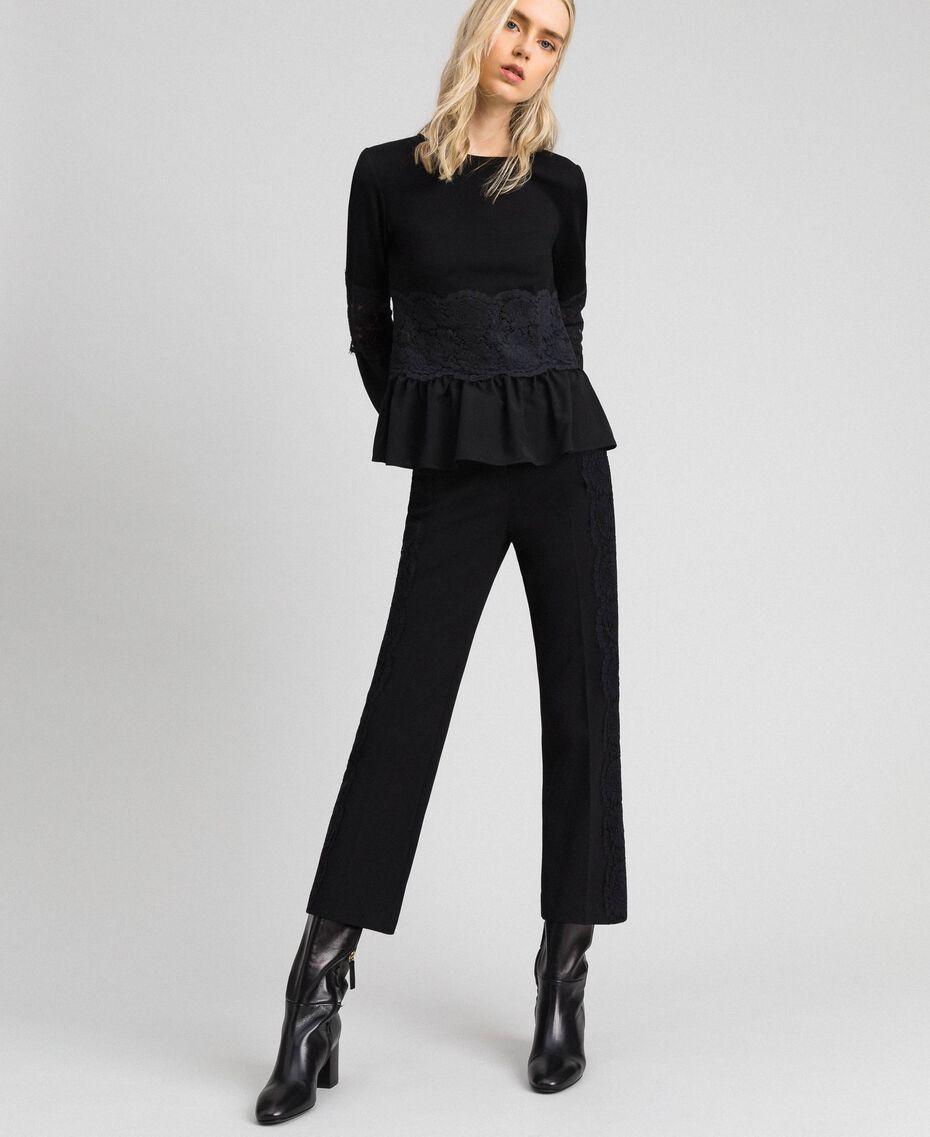 Укороченные брюки с кружевом Белый Снег женщина 192TT2210-02