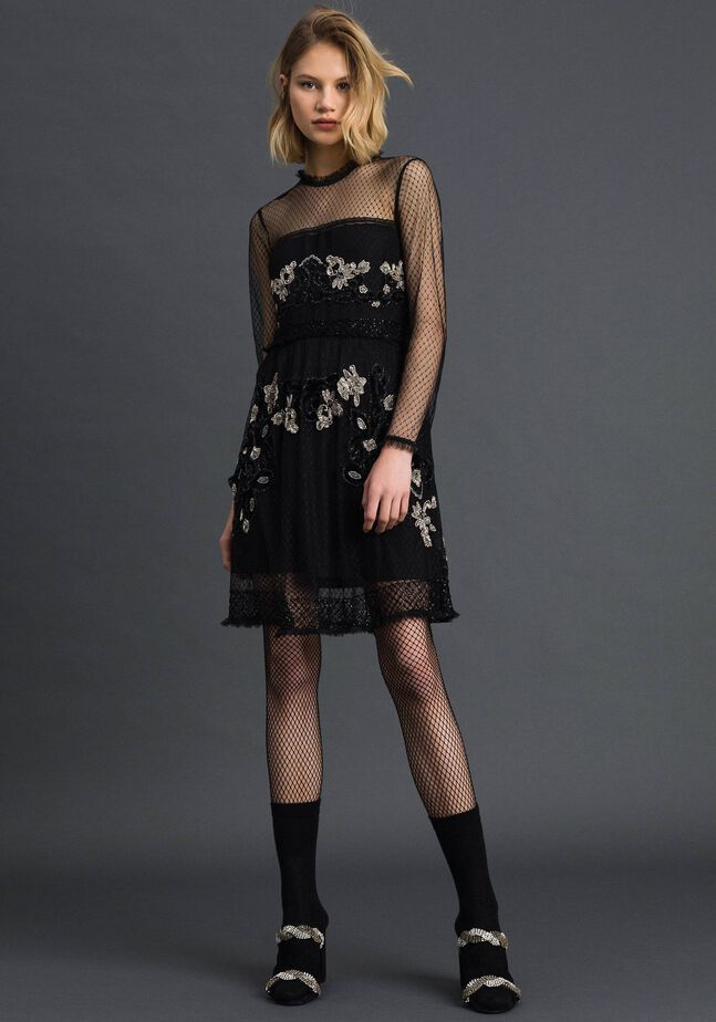 Plumetis tulle dress with floral embroidery