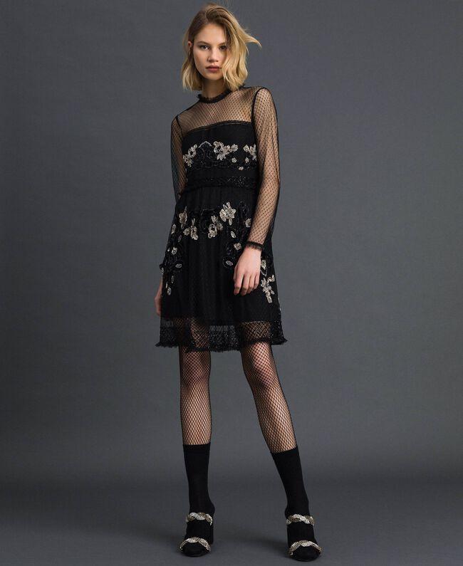 Robe en tulle plumetis avec broderie florale Noir Femme 192TT2041-01