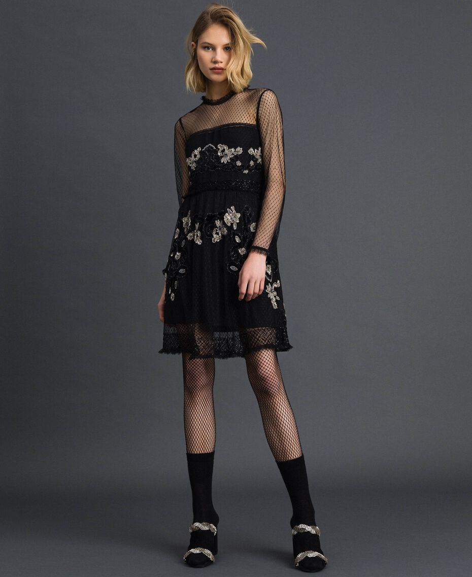 Plumetis tulle dress with floral embroidery Black Woman 192TT2041-01