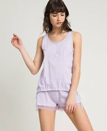 Short gingham print pajamas Lilac Woman 191LL2EDD-0S