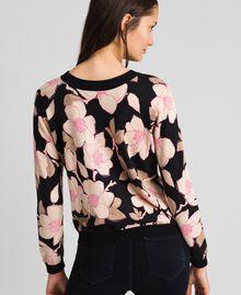 Floral print jumper-cardigan Black Floral Print Woman 192LL3KRR-03