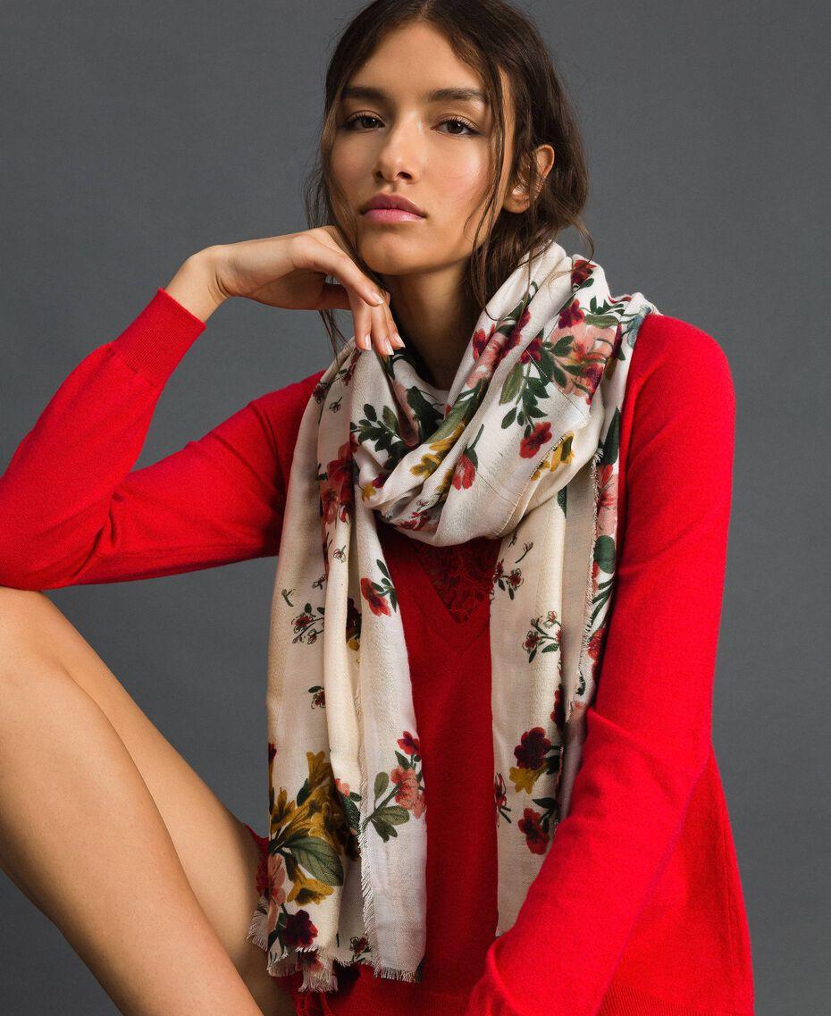 Schal mit Lurexstreifen und Blumenprint Feldblumenprint Ecru Frau 192TA4422-0S