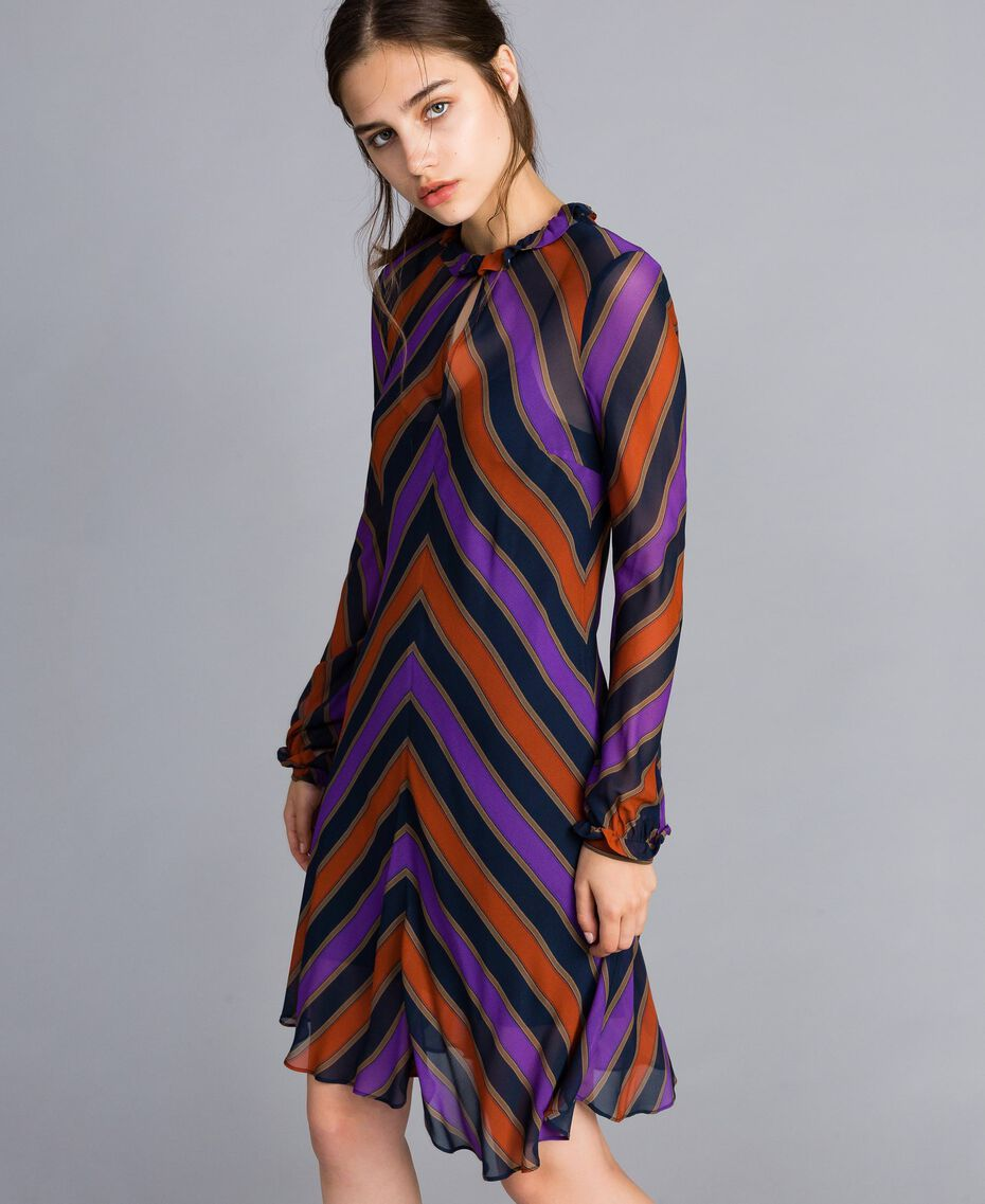 Robe en crêpe georgette rayé Imprimé Rayure Multicolore Femme TA8295-02