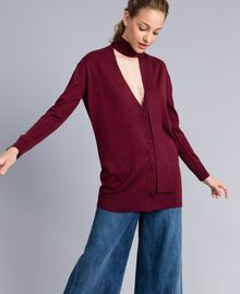 Silk and cashmere cardigan Bordeaux Woman PA83GG-03