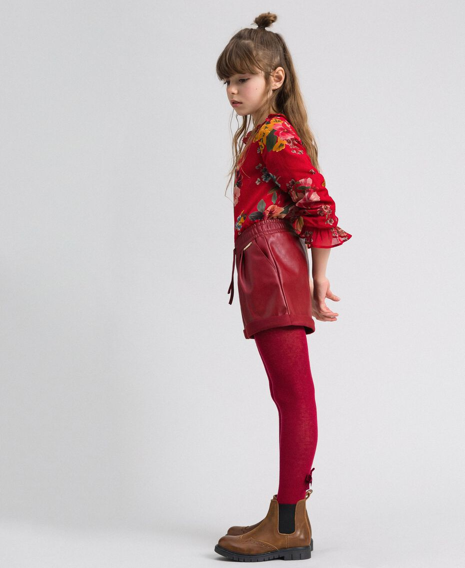 Shorts in similpelle Rosso Ruby Wine Bambina 192GJ2012-02
