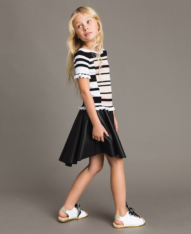 Faux leather skirt with butterflies Black Child 191GJ2261-03