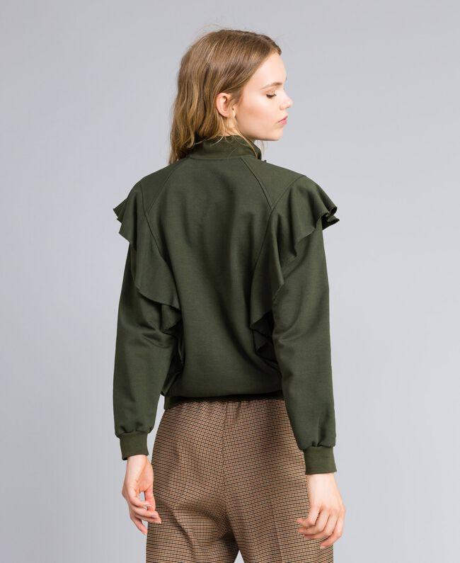 Sweatshirt aus Baumwolle mit Rüschen Waldgrün Frau TA82ZC-03