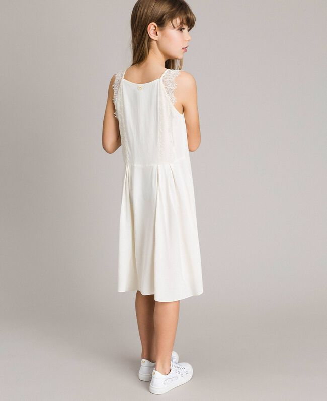 Long dress with lace Pale Cream Child 191GJ2433-03