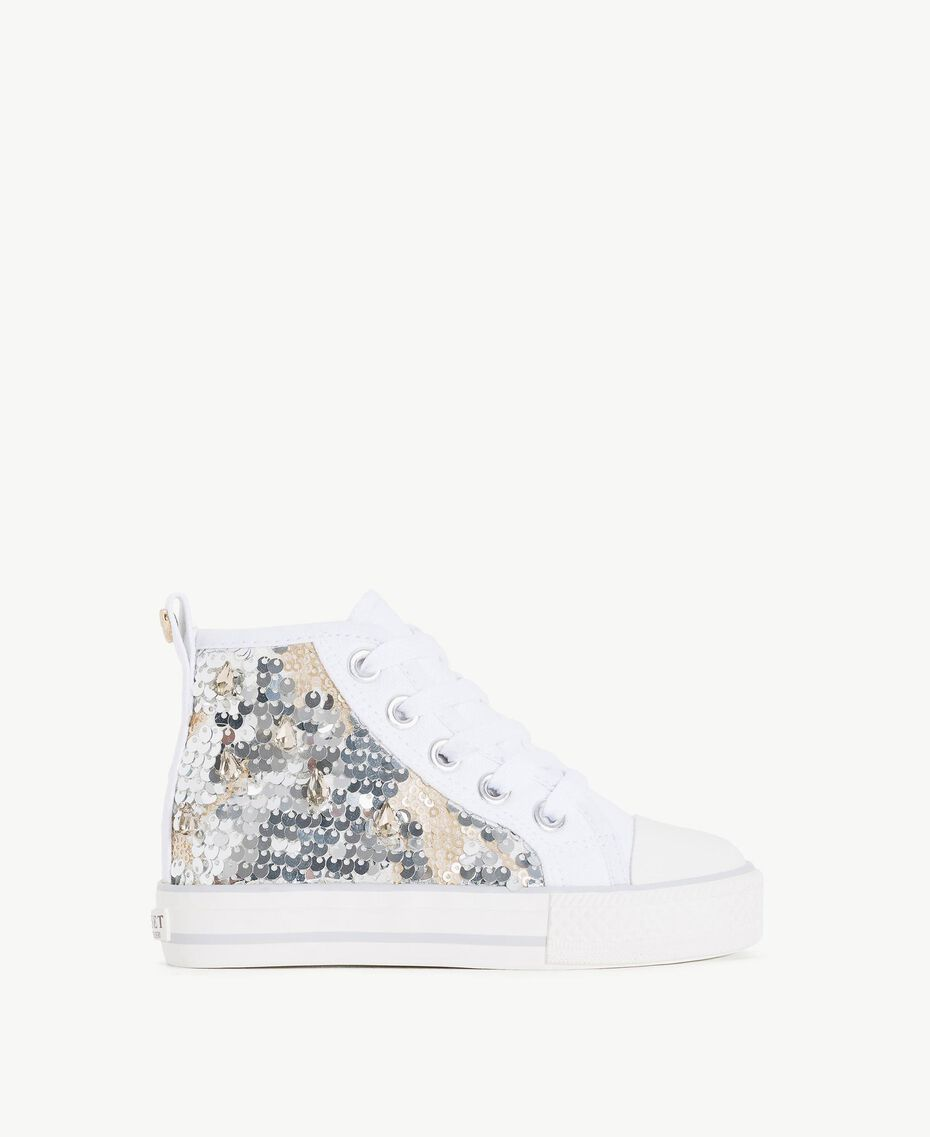 Sequin sneakers Silver Child HS86C1-01