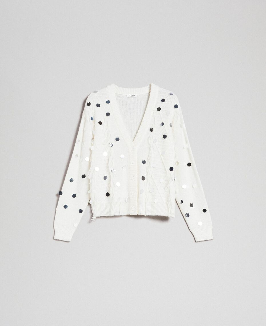 Cardigan in lana e mohair con paillettes Bianco Neve Donna 192ST3021-0S