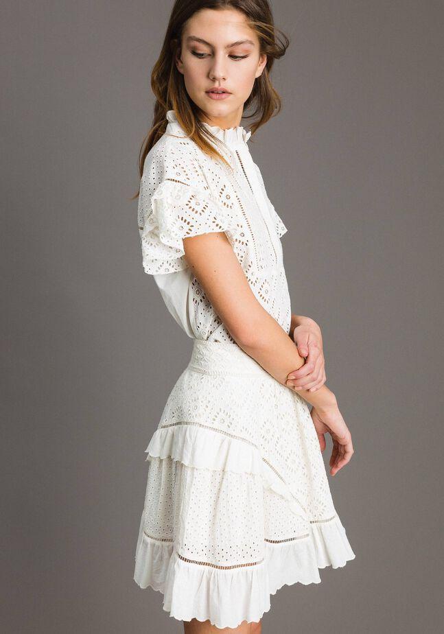 Broderie anglaise full mini skirt