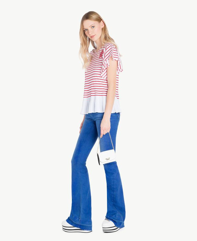 Striped T-shirt Optical White Stripe / Vermilion Red Woman JS82RG-05
